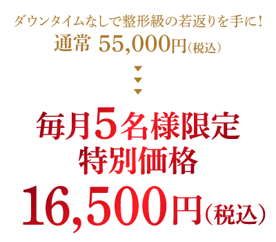 毎月5名様限定特別価格16,500円(税込)